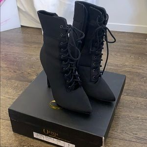 Lace high heel boots